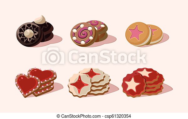 Flat vector set of cookies with different flavours. Delicious snack for breakfast. Sweet food. Graphic elements for bakery shop menu - csp61320354