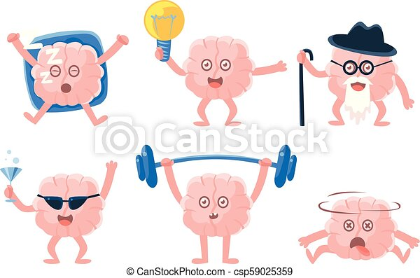 Flat vector set of funny humanized brains with arms and legs in different actions. Human internal organ. Stickers for social network - csp59025359