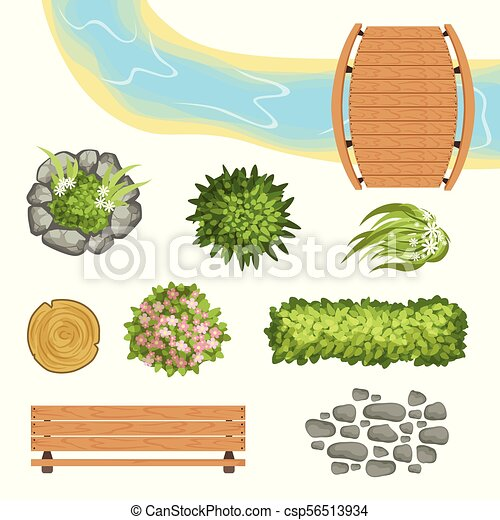 Flat vector set of landscape elements. Wooden bridge and bench, stump, river, green bushes and flowers, stone path. Top view - csp56513934