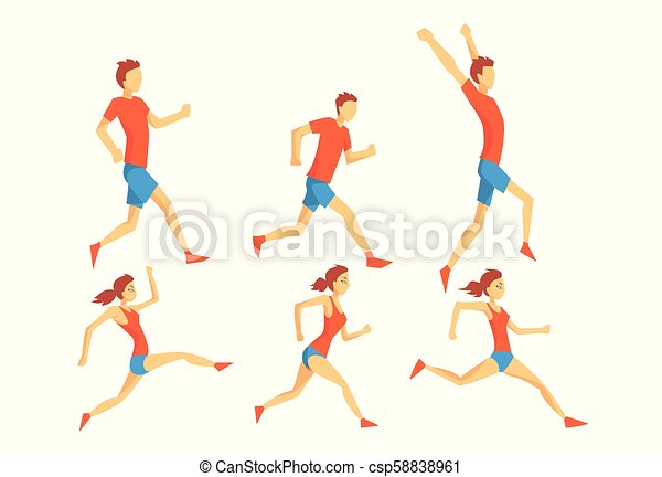 Flat vector set of people in running action. Professional athletes. Runners in sportswear. Active and healthy lifestyle - csp58838961