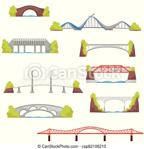 Flat vector set of stone, brick and metal bridges. City construction elements. Architecture theme - csp62106210
