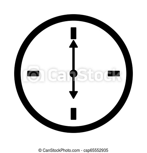 Flat watch icon. Silhouette time web clock - csp65552935