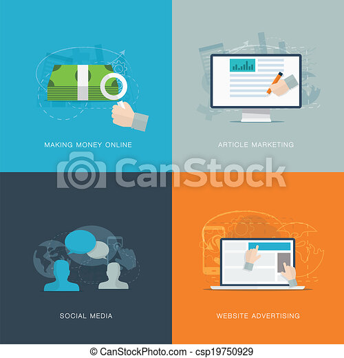 Flat web advertisiment and social  - csp19750929