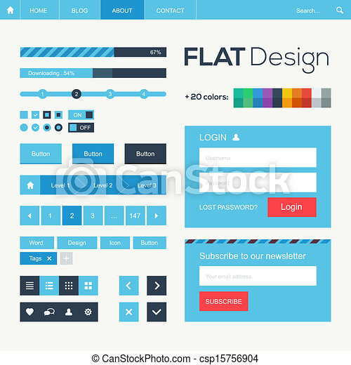 Flat web and mobile design elements - csp15756904