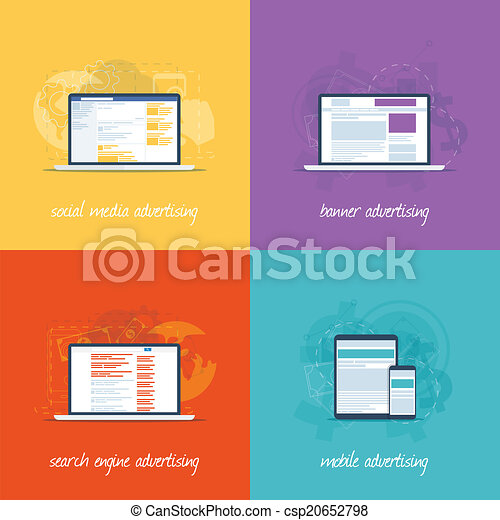 Flat web design icons for internet  - csp20652798