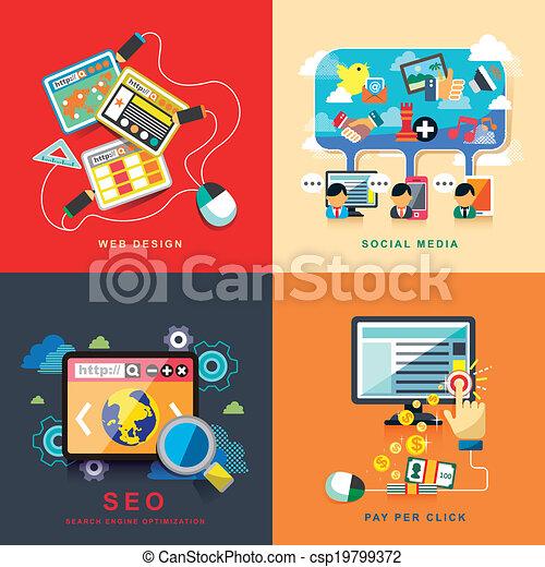 flat web design, seo, social media, pay per click - csp19799372