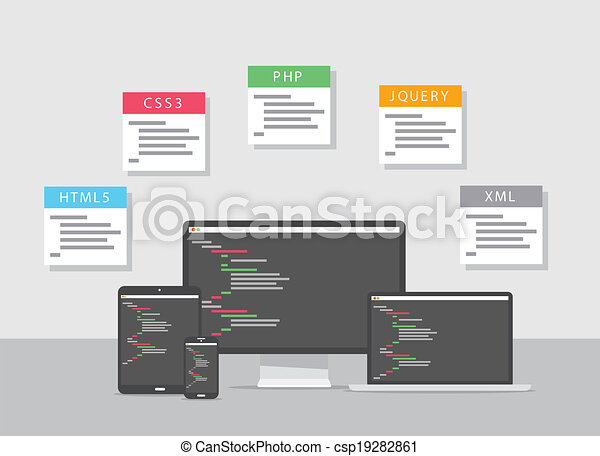 Flat web development design vector  - csp19282861
