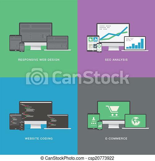 Flat web development electronic vec - csp20773922