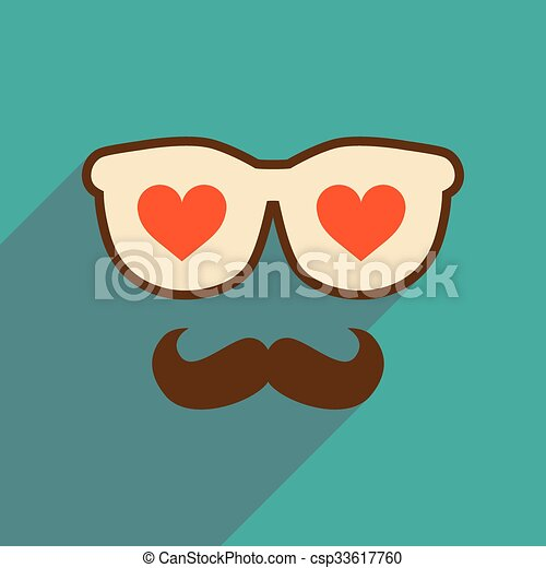 Flat web icon with long shadow glasses mustache - csp33617760