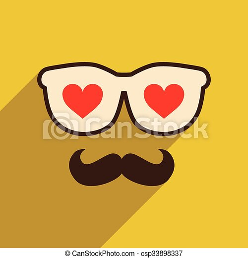 Flat web icon with long shadow glasses mustache - csp33898337