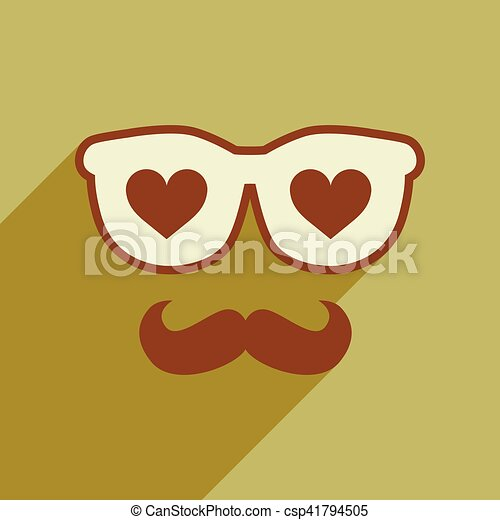 Flat web icon with long shadow glasses mustache - csp41794505