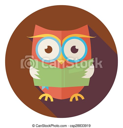 flat wisdom bird owl reading book circle icon with long shadow flat rh canstockphoto com Baby Owl Reading Reading Comprehension On Owls