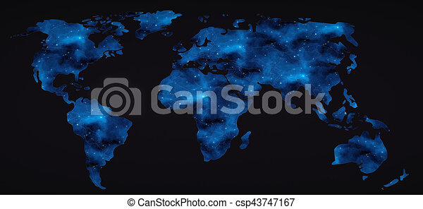 Flat world map with space stars 3d rendering Flat world map