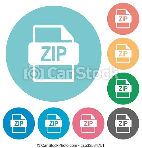 Flat ZIP file format icons - csp33534751