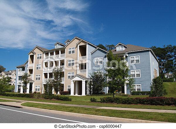 flats, rijtjeshuizen, 3, townhou, verhaal - csp6000447