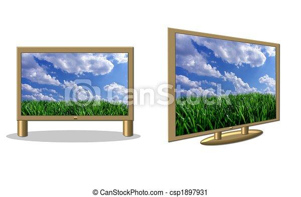 flatscreen, isolé, télés - csp1897931