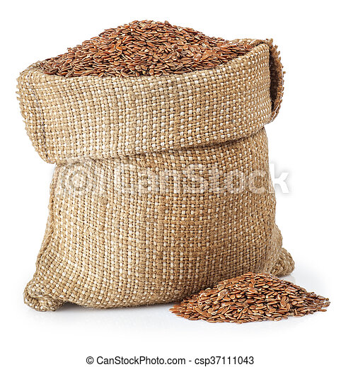 Flax seed in burlap bag isolated on white background - csp37111043