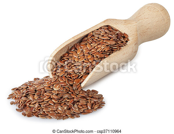 flax seeds in wooden scoop isolated on white - csp37110964