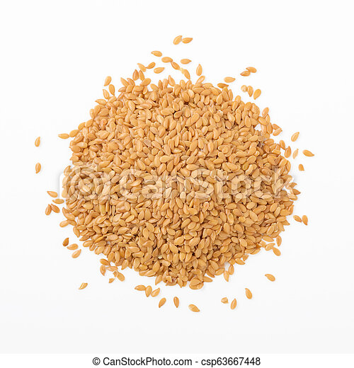 Flaxseed isolated on white background, top view - csp63667448