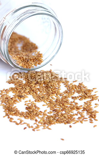 Flaxseed On White Background - csp66925135