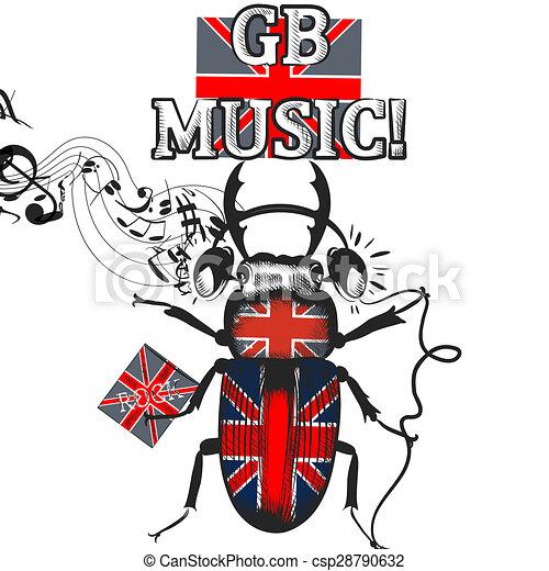 Flayer, coloreado, inglés, símbolo, auriculares, bandera inglesa ...