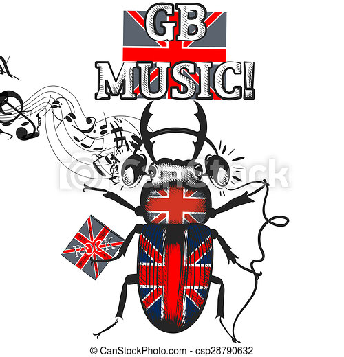Flayer coloreado ingl s s mbolo auriculares bandera - Dibujo bandera inglesa ...