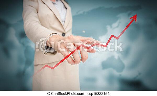 Mujer de negocios tocando la flecha de crecimiento rojo - csp15322154