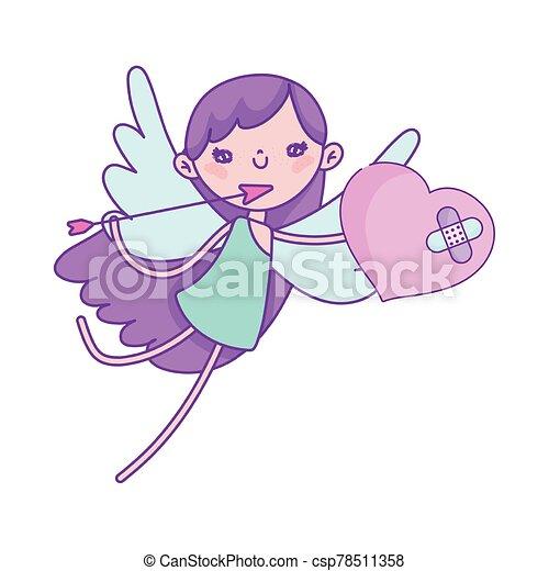 flecha, cupido, corazón roto, día, valentines, feliz, amor - csp78511358