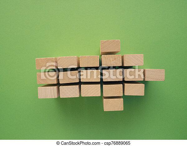 flecha, de madera, verde, forma, bloques - csp76889065