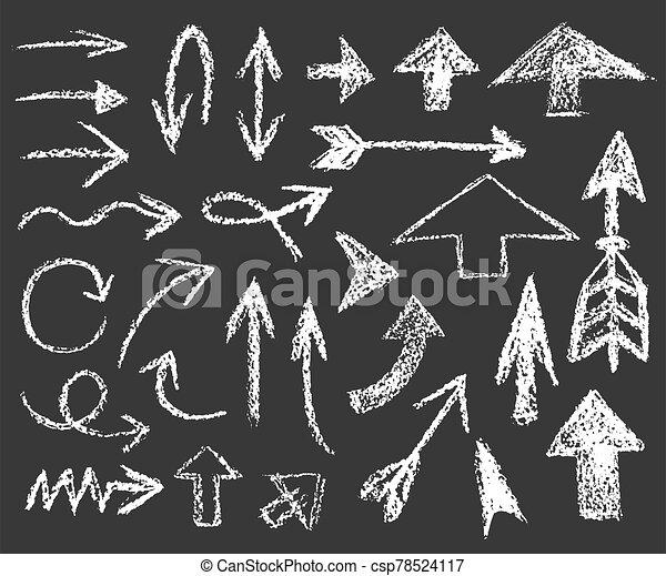 flechas, blanco, conjunto, formas, diferente, tiza - csp78524117
