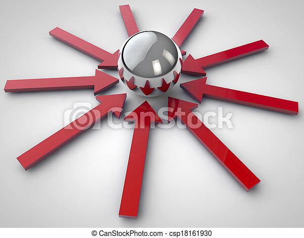 Flechas rojas y esferas brillantes - csp18161930