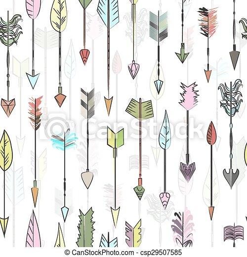 Flechas, flecha, vector, coloreado, caza, collection., garabato ...