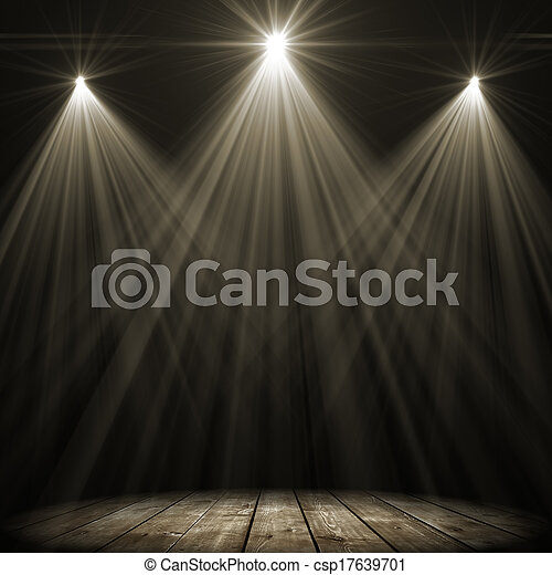 fleck, beleuchtung, drei, buehne - csp17639701