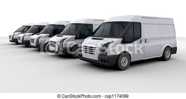 Fleet of delivery vans - csp1174099