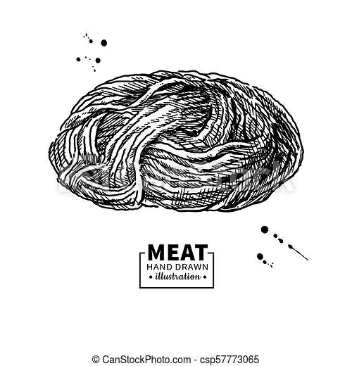 Fleisch Rindfleisch Drawing Hand Vektor Forcemeat Gezeichnet