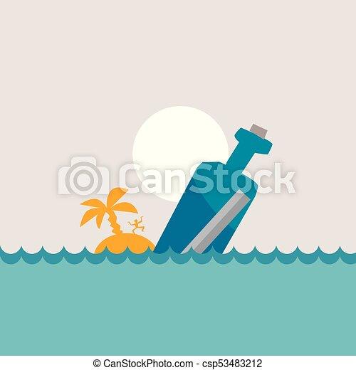 fles, boodschap, vector, illustratie, zee - csp53483212