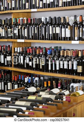 flessen, getoonde, supermarkt, wijntje - csp39237641