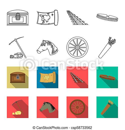 Pickax Hoe, cabeza de caballo, carro de ruedas, quiebre con flechas. El salvaje oeste puso iconos de colección en el esquema, símbolo bitmap estilo bitmap de la web de ilustración de acciones. - csp58733562