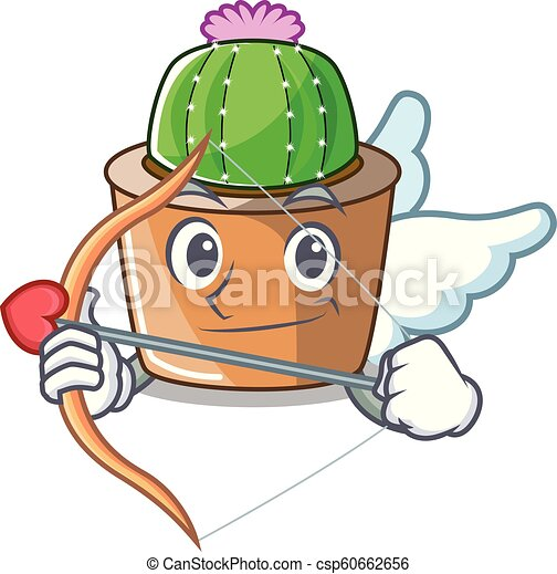 fleur, étoile, caractère, cupidon, cactus, dessin animé - csp60662656