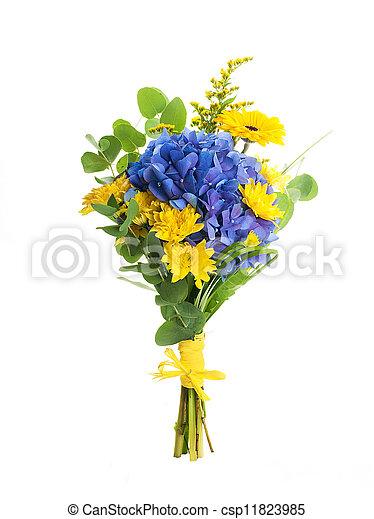 Fleur Bleue Bouquet Jaune Hydrangeas Asters Fond