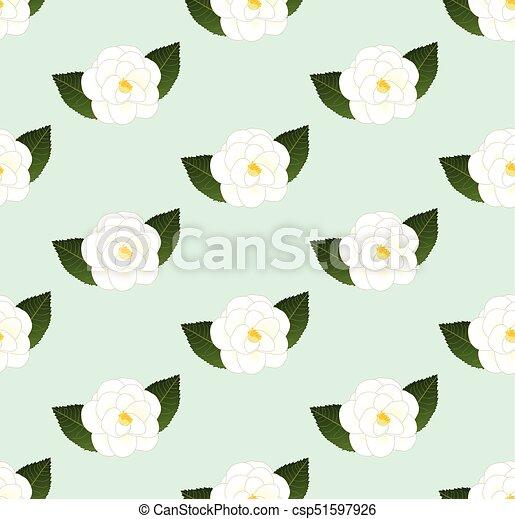 Fleur Camelia Seamless Arriere Plan Vert Blanc Menthe Fleur