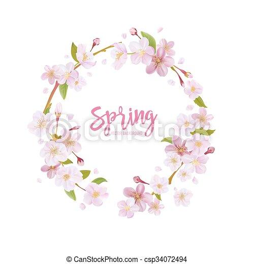 fleur, cerise, couronne, -, vecteur, fond, printemps, floral - csp34072494