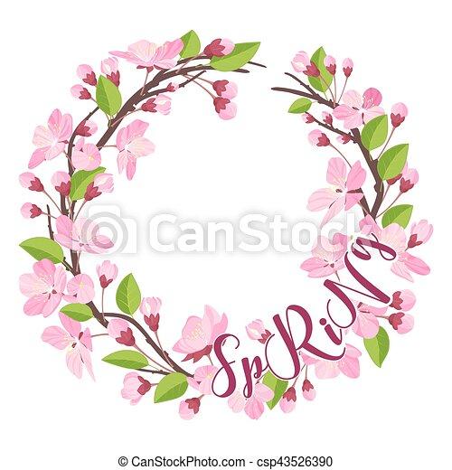 Fleur Cerise Couronne Vecteur Fond Printemps Floral