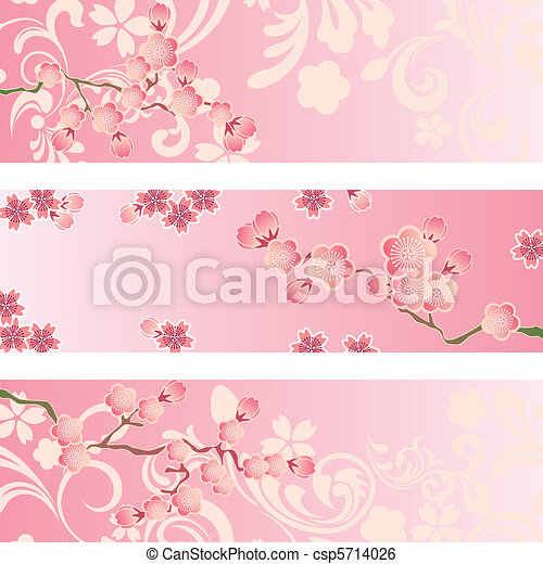 fleur, cerise, ensemble, bannière - csp5714026