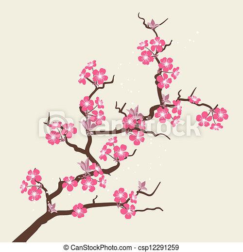 fleur, cerise, flowers., stylisé, carte - csp12291259
