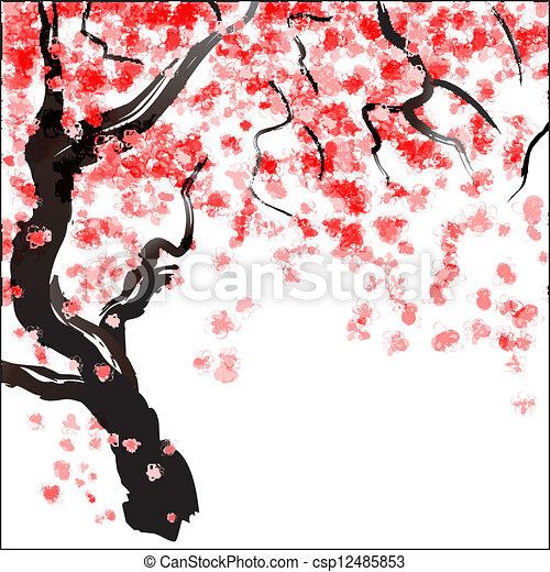 Fleur Cerisier Aquarelle Cerise Blossom Arbre Japonaise