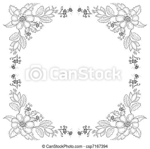 Fleur contour fond cadre symbolical r sum fleurs - Dessin contour ...