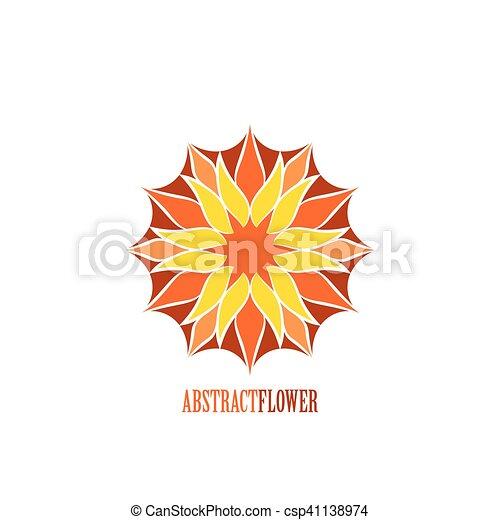 Fleur Couleur Résumé Vecteur Blanc Mandala Sur Icône