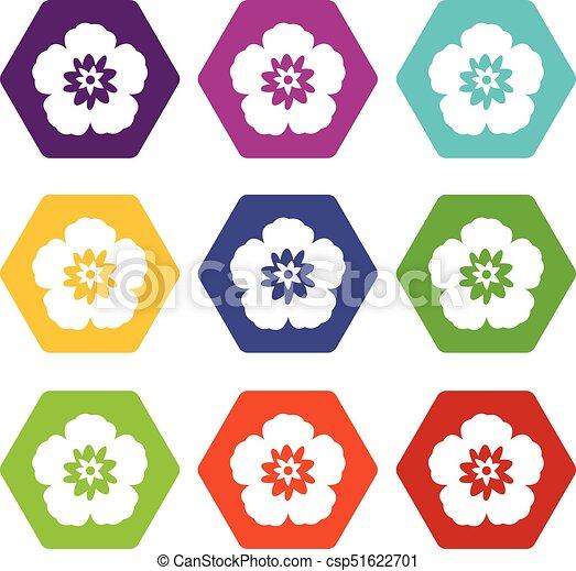 Fleur Couleur Rose Hexahedron Ensemble Coréen Sharon Icône