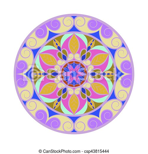 Fleur Couleur Sur Vecteur Blanc Mandala